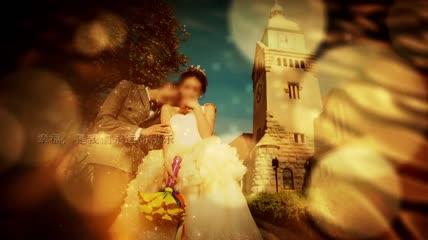 金色浪漫婚礼片头展示AE模版