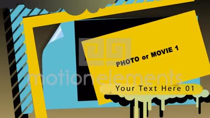 蓝黄结合的彩色图形内容展示AE源文件,附一款字幕条