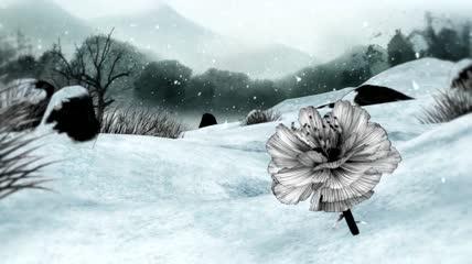 水墨中国风花瓣花朵飘落舞蹈晚会led背景