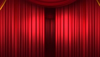 舞台红色幕布拉开动画循环背景高清视频素材