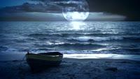 月亮大海小船视频素材