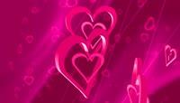 浪漫三维爱心交织舞动循环背景高清视频素材