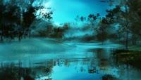 中秋节意境森林梦幻湖泊神话视频素材