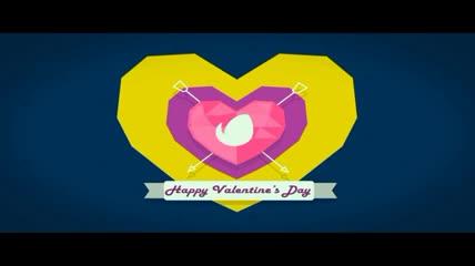 可爱小鸟与爱心主题的缤纷情人节开场动画AE工程,多色入