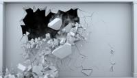 一面3D带通道白色墙壁破碎崩塌的特效视频