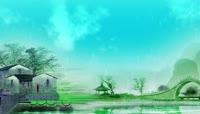 中国风水墨江南小雨小桥