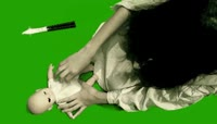 恐怖长发女孩杀死婴儿绿屏抠像