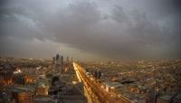 4K城市上空雷暴乌云密布恶劣天气变化
