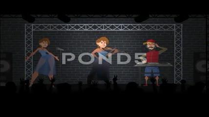卡通人物角色演唱会创建器AE模板