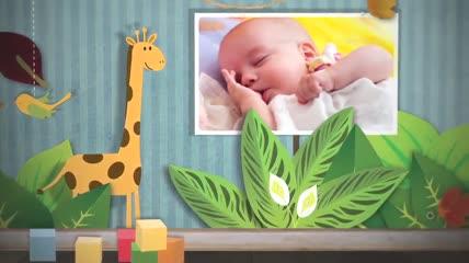 温馨可爱的卡通儿童成长生日纪念电子相册AE模板