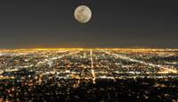 城市灯光夜景月色