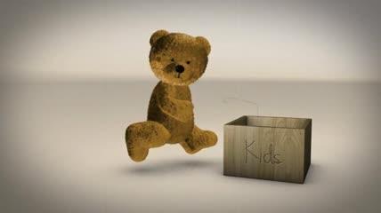 可爱泰迪熊礼物盒卡通电子相册AE模板
