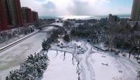 山东威海雪景高清实拍视频
