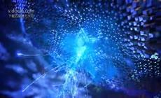 震撼大气蓝色科技光线粒子汇聚企业宣传片开场视频