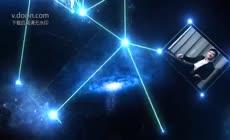 大气蓝色科技企业光线文字展示视频片头ae模板
