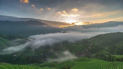 唯美大山清晨日出照亮无尽梯田山涧茶田云雾