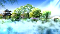 唯美山水画中国风舞台背景视频