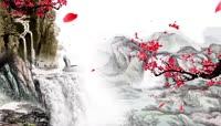 中国风唯美仙鹤梅花舞台背景视频