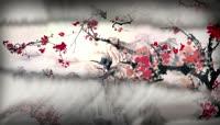 中国风雪山梅花舞台背景视频