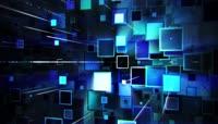 蓝色高科技流动矩形动态背景视频素材