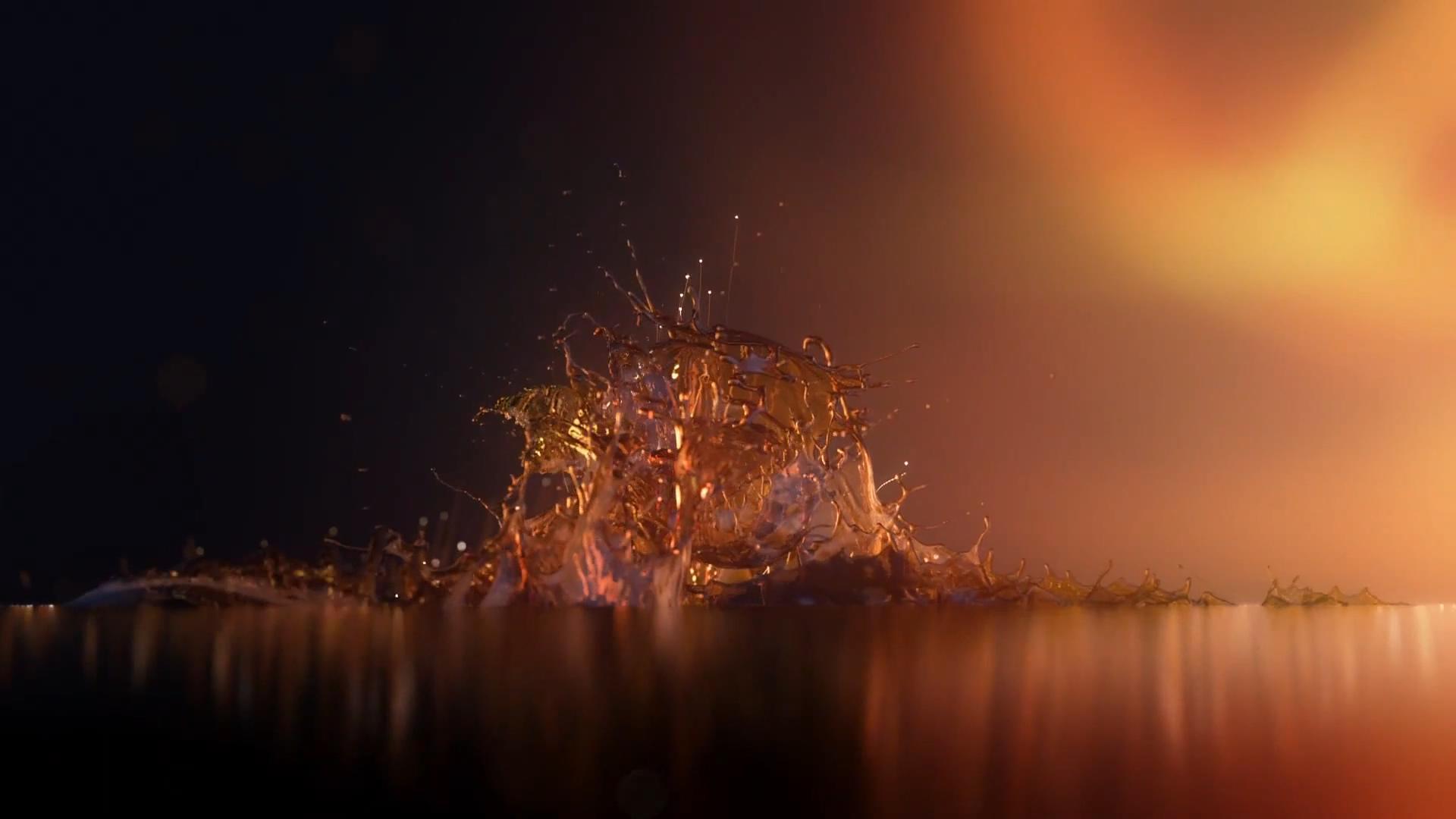 白兰地烈酒饮品震撼水珠流体魅力展现高清视频实拍