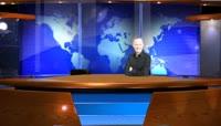 在AE中搭建的虚拟新闻演播室模板素材
