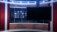 红色主播台背景的虚拟演播室高清视频素材