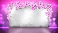 浪漫粉色小花装饰下的婚礼布景背板LED视频素材