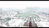 高清航拍盐城公园雪景