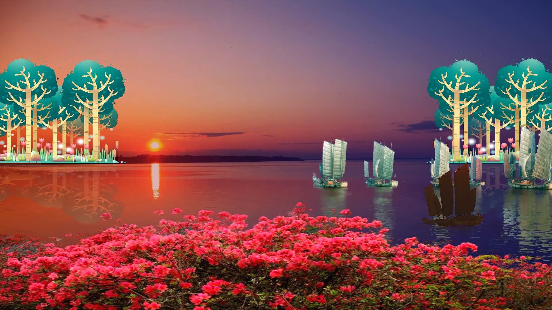 配乐成品 乌苏里船歌 经典民歌 树林 帆船 江河 乌苏里江 赫哲族民歌 经典老歌 经典红歌