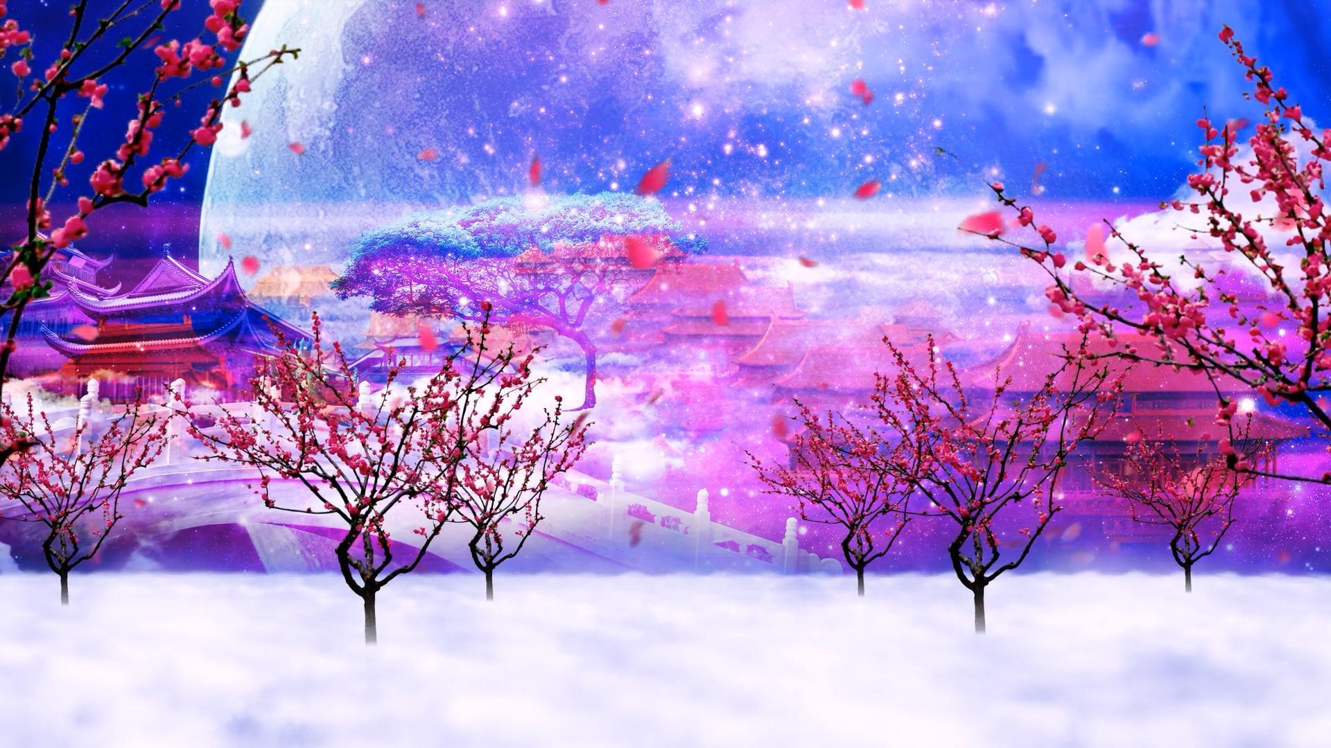 梦幻圆月红花