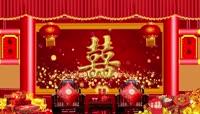 中式婚礼宴席LED背景展示PR模板