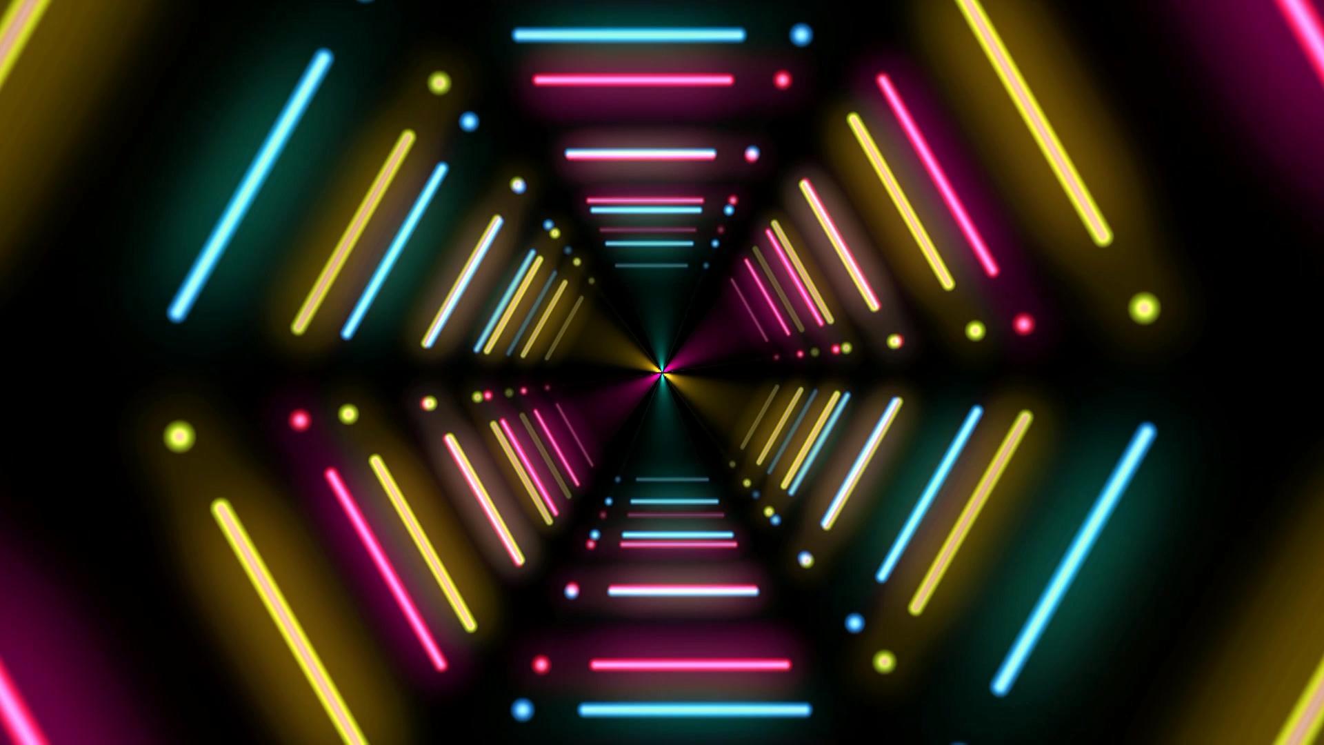 酷炫霓虹灯隧道素材