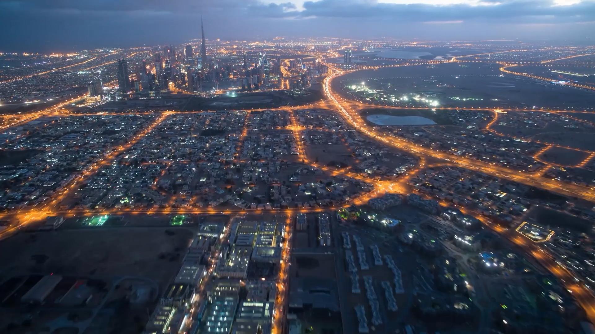 延时摄影公路山峰城市夜晚车流