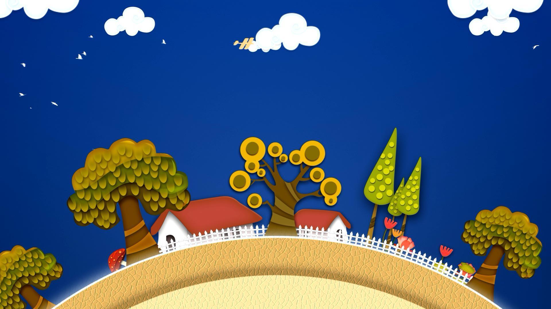 卡通旋转地球小屋树木