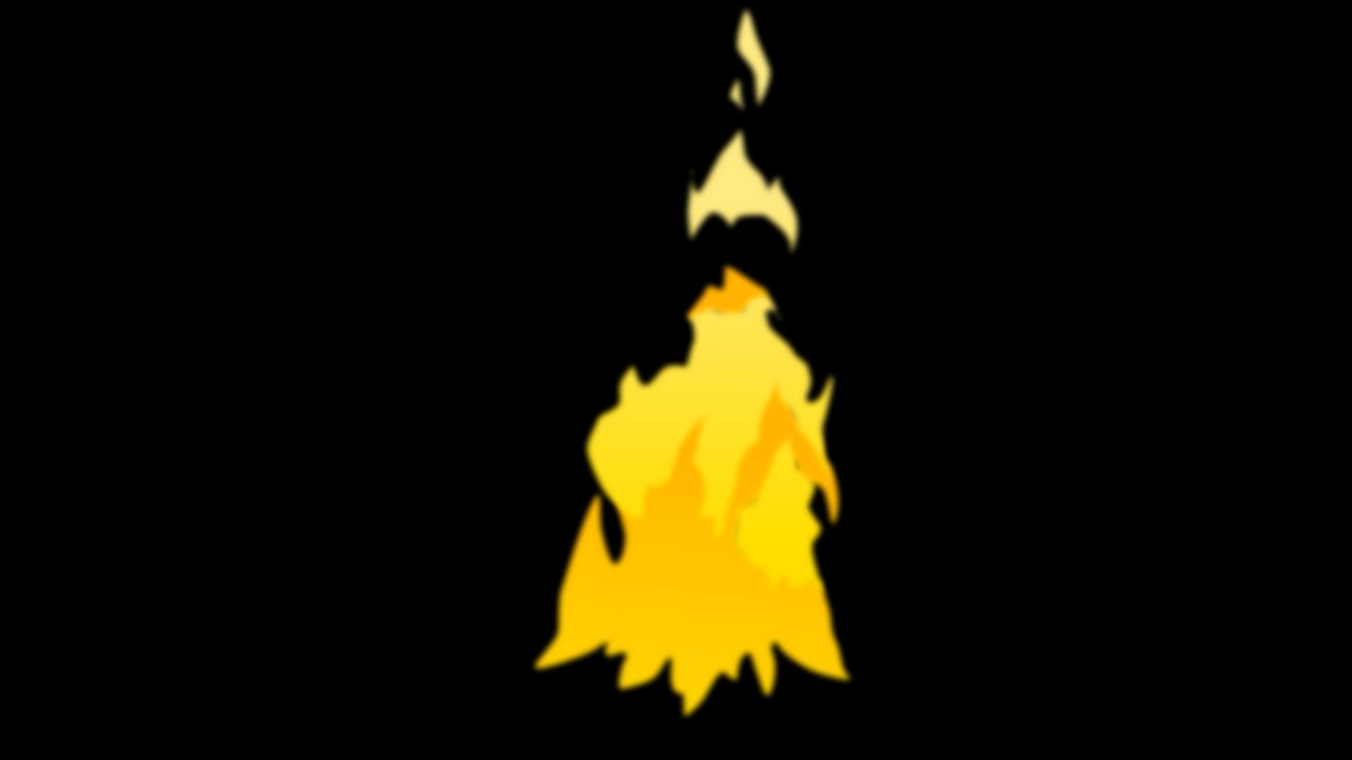 卡通风格的动画循环篝火