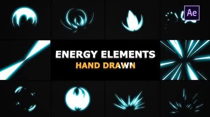 10个纯手绘的漫画能量特效元素AE源文件