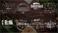 带有漏光效果的圣诞节主题文字标签版式AE模板