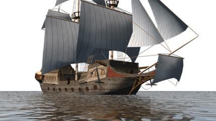 战舰 战船 古船 舟 大海 海洋 蓝天 白云 大航海时代 企业专题 宣传素材 CG 三维 3D模型 模板 实用素材 小元素