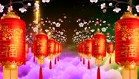 开花的桃树挂宫灯礼花背景