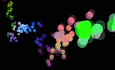 抽象的彩色球体落下和弹跳的黑色背景3D