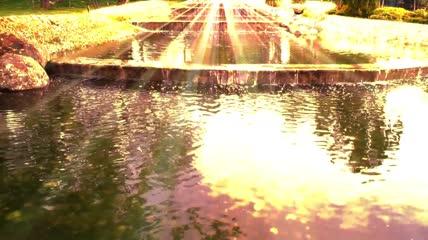 黄金之河唯美梦幻闪亮粒子光线舞台背景视频