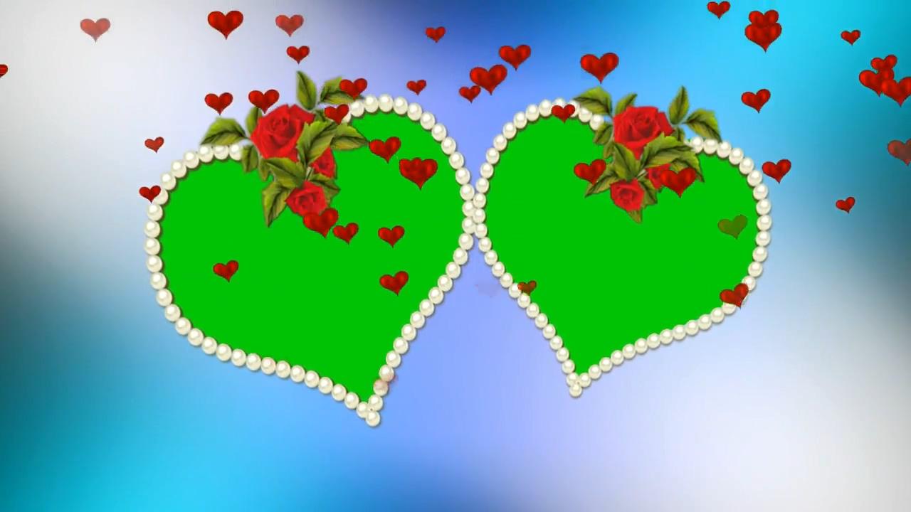 绿屏抠像玫瑰爱心相框