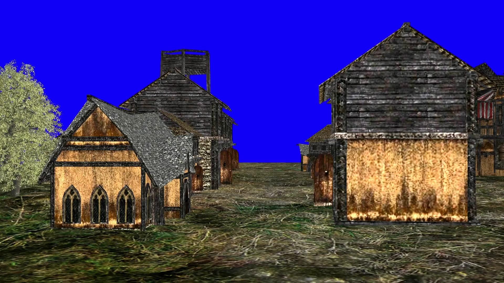 蓝屏抠像多层木屋