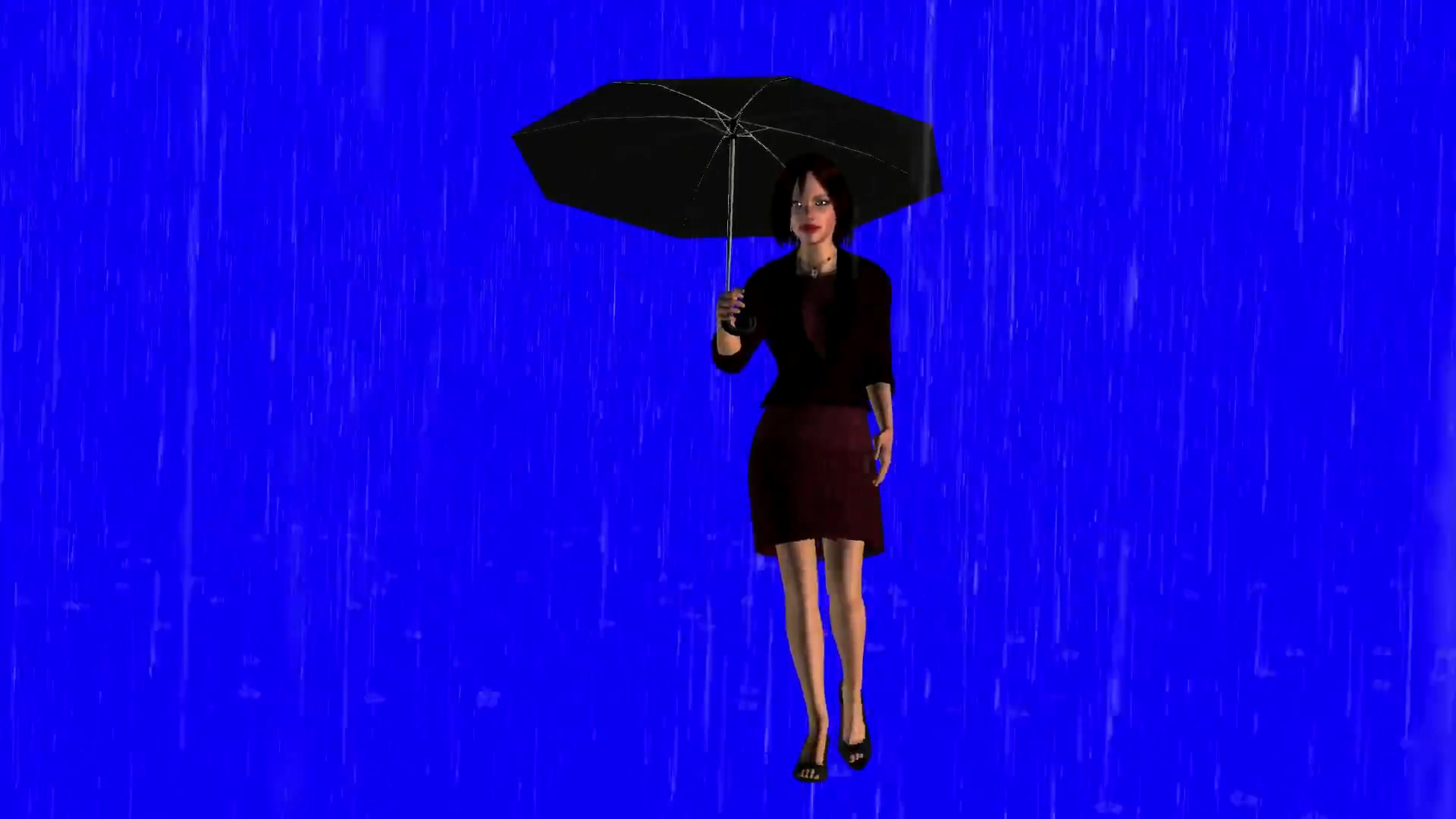 绿屏抠像雨中打伞的女子