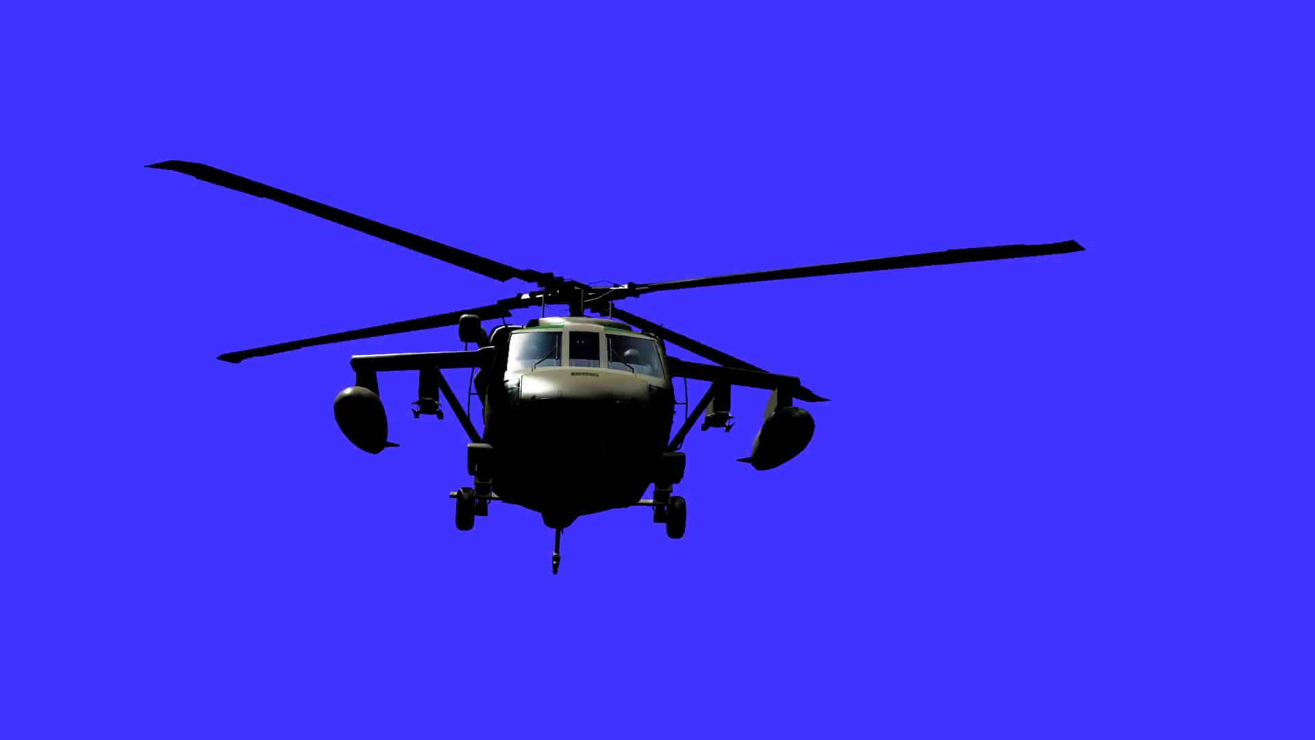 蓝屏扣像飞行的直升飞机