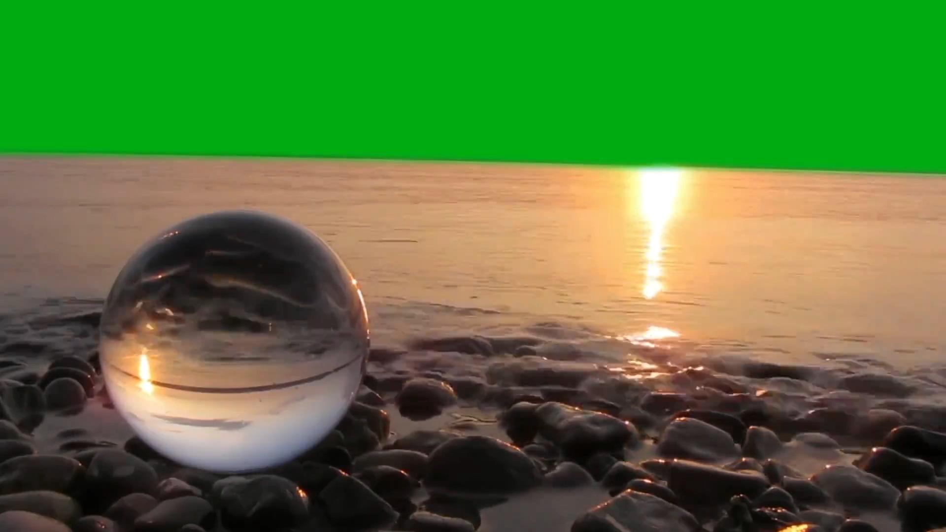 绿屏抠像海边日出沙滩