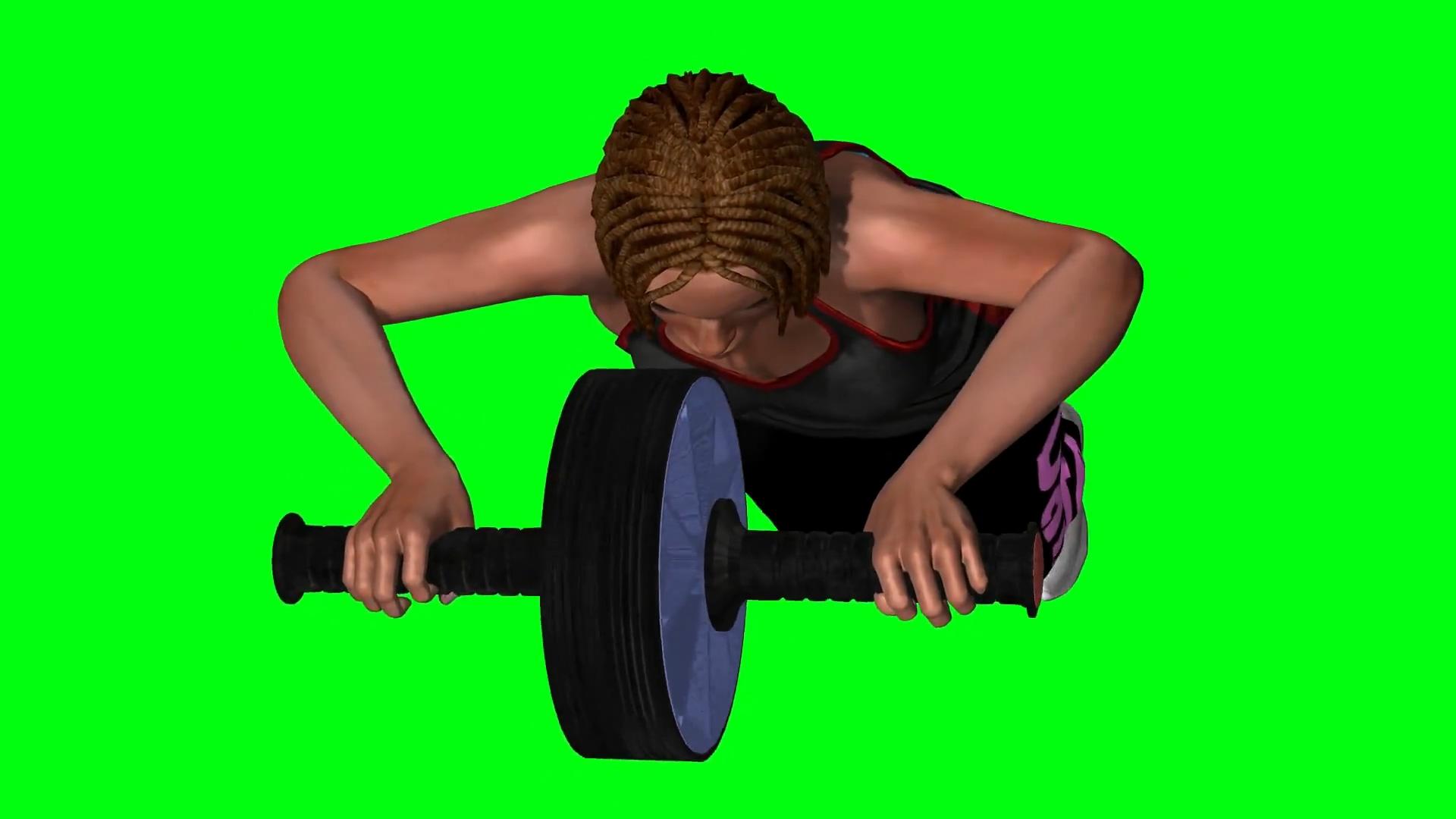 绿屏抠像做健腹轮的女子