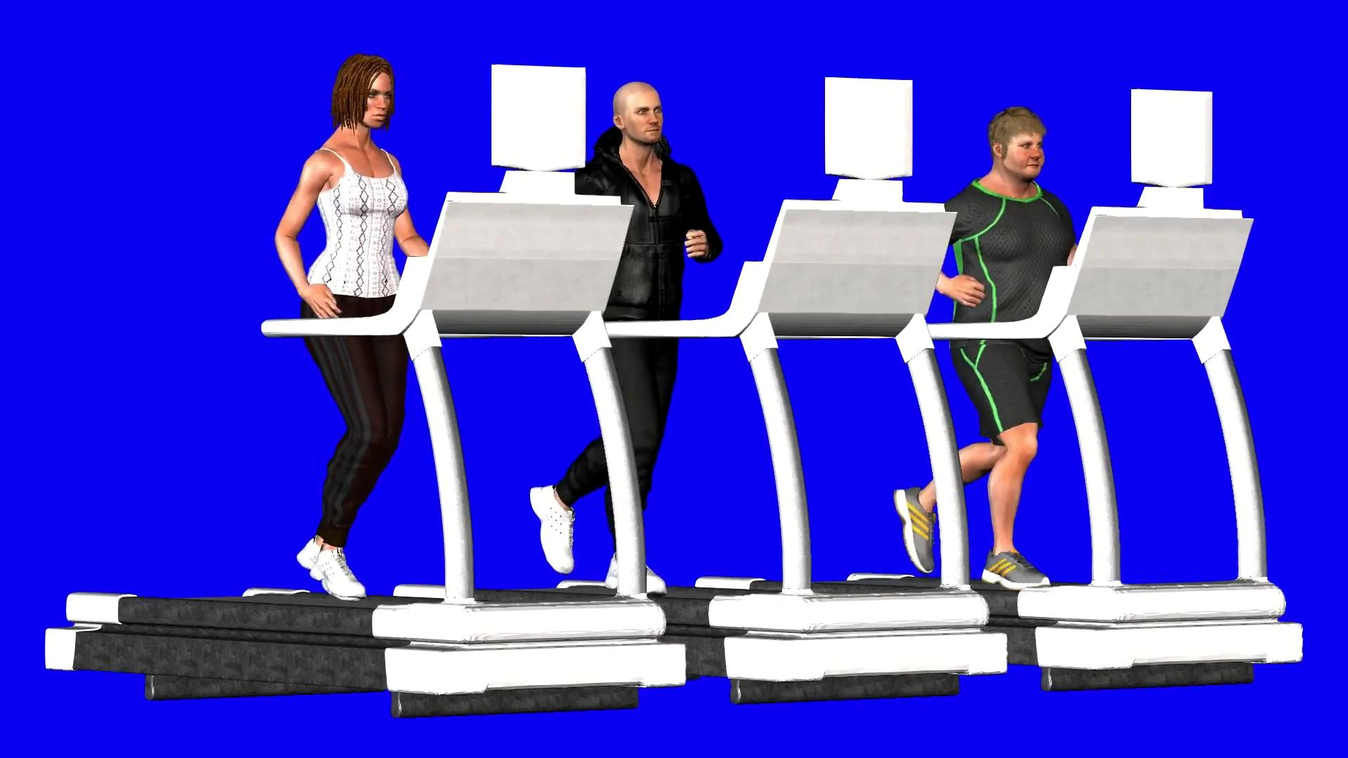 蓝屏扣像跑步机健身的人群