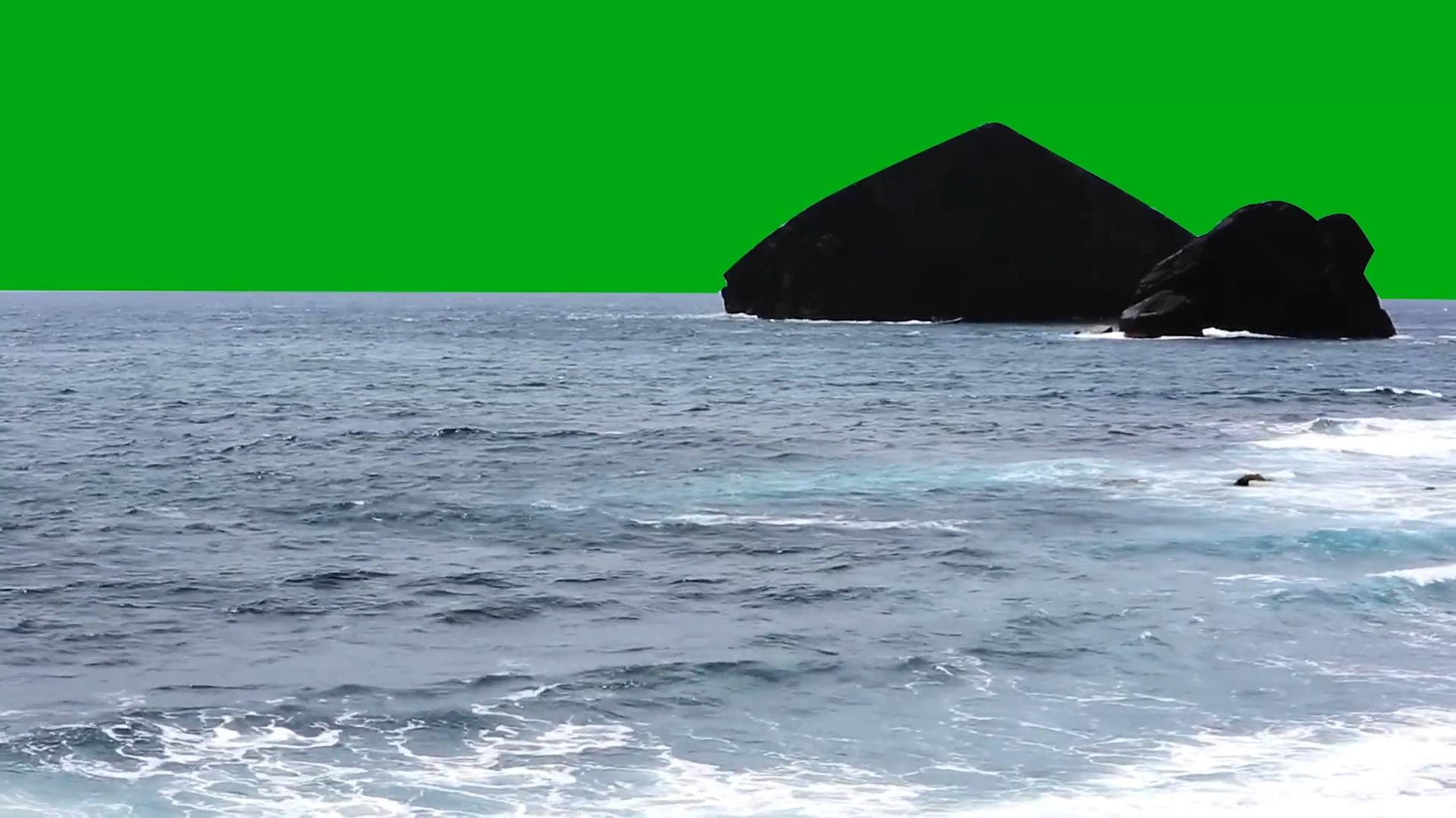 绿屏抠像大海岩石